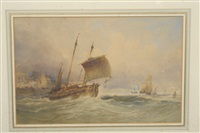 fishing boats and other vessels off a coastline by charles bentley