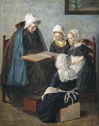 die märchenstunde. großmutter liest den enkelinnen vor by walter firle