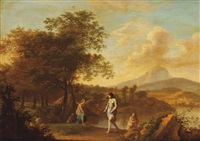 an italianate landscape with nymphs bathing by johan van haensbergen