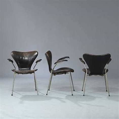 seven chair model 3207 set of 10 by arne jacobsen