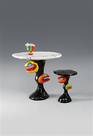 table tabouret et vase set of 3 by niki de saint phalle