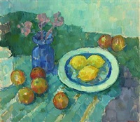 still life with fruit and flowers by ib eisner
