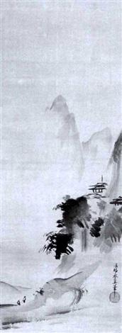 landschaft im haboku stil mit tempelanlage auf einem bergvorsprung by kano yasunobu