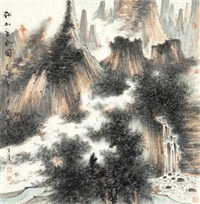 秋山云水图 by zhao mingfu