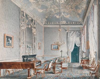 Interieur, Salon mit Klavier und verspiegelter Wand by Jacques ...