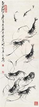 群虾 立轴 水墨纸本 by qi liangmo