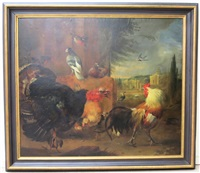 avian scene with chickens, turkey, doves, etc. with palace and fountain in the background by erni von hüttenbrenner