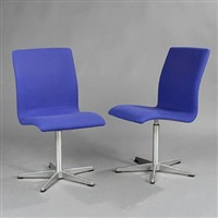 oxford swivel chairs (model 3171) (pair) by arne jacobsen