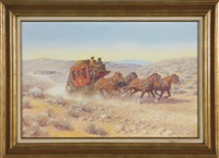 wells fargo stage coach with driver and guard, drawn by four galloping horses by edward burns quigley