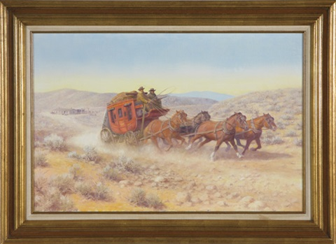 wells fargo stage coach with driver and guard drawn by four galloping horses by edward burns quigley