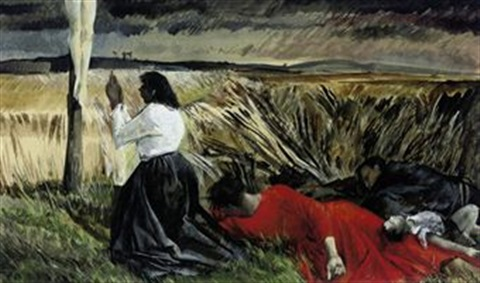 prostrated figures kneeling before the cross by frank archer