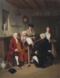 musizierendes trio im stubeninterieur, dem ein herr und eine dienstmagd lauschen by johann mongels culverhouse