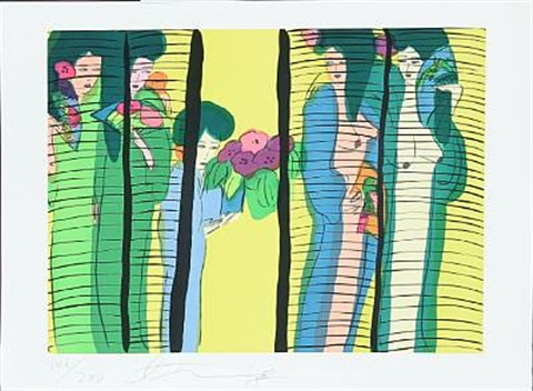 five geishas with flowers by walasse ting