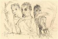 drei figuren unter palmen (from sketchbook) by otto gleichmann