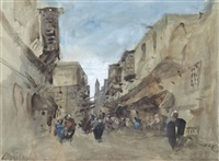 a street scene, boulac, cairo, egypt by hercules brabazon brabazon