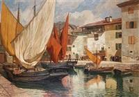 italienische hafenstadt by georg macco