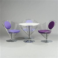 wire cone chairs and coffee table (set of 4) by verner panton