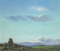california landscape with expansive blue sky and green rolling hills by jerome gaston