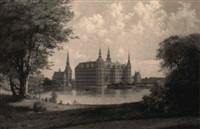 udsigt fra jægerbakken mod frederiksborg slot by julius andersen