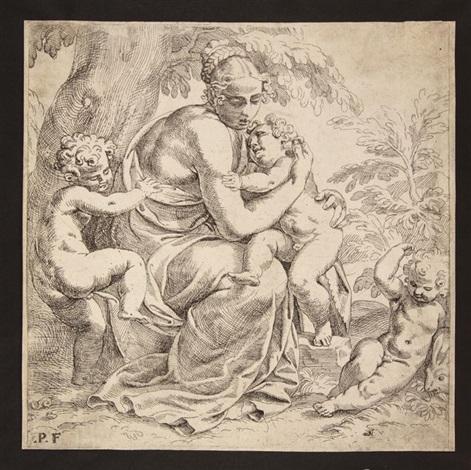 figura femminile con tre putti carità by paolo farinati