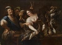 ein jäger und eine magd mit fischen und erlegtem wild in einem kücheninterieur by christian van couwenbergh