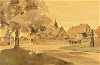 eberbach-seltz (village scene of the french commune in ne france) by paul-louis spindler