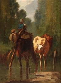 watering livestock (pair) by antonio cortés cordero