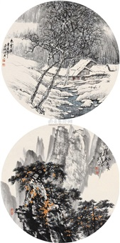 landscape (2 works) by he qiyi