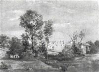 blick auf die ruinen der caracalla thermen by august (friedrich a.) reinhardt
