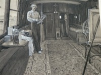 portrait of the artist charles napier hemy ra rws (1841-1917) at work in his purpose-built floating studio by m. winefride freeman