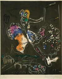 night in paris by marc chagall