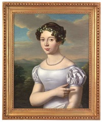bildnis eines mädchens in weißem kleid und mit einem blütenkranz im haar als halbfigur vor landschaftshintergrund by jakob (johann) hermann