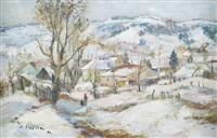 winterlandschaft mit dorfansicht by oldrich blazicek