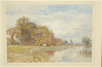 summer river landscape by sir ernest albert waterlow