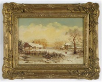 winter landscape with frozen pond, two figures walking by charles branwhite