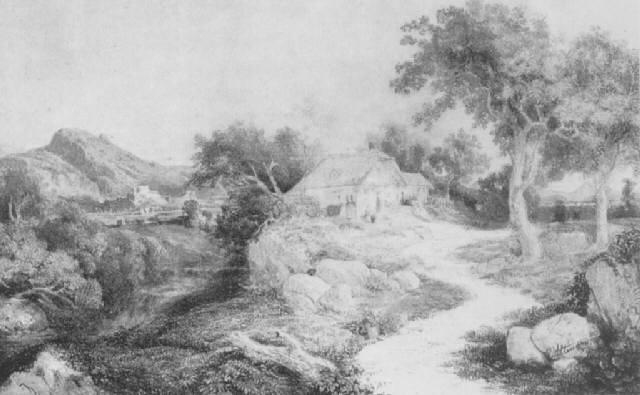 ideale landschaft mit einer hütte und einer ruine im hintergrund by joseph altmann