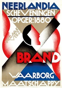 neerlandia scheveningen brand waarborg maatschappy (poster) by jan h. alberda
