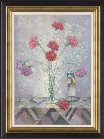 carnations in a glass vase by rudolf helmut sauter