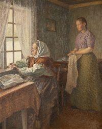 interior scene with two women by gudbrand mellbye (mollbye)