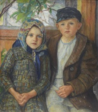 a boy and a girl by nikolai petrovich bogdanov-bel'sky