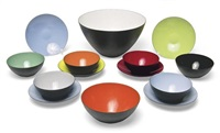 salad bowls and saucers (set of 12) by herbert krenchel and krenit