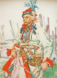 study of a man in traditional costume standing three-quarter length by a gate by henryk uziemblo