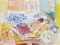 femme dans un interieur by raymond jean legueult