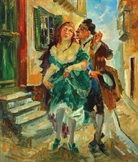 a street scenery with a man and a woman by ludvig jacobsen
