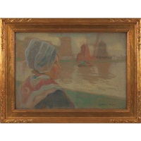 breton girl on shore by guillaume georges roger