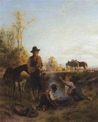 ein dachauer bauer mit kindern beim kartoffelfeuer by friedrich wilhelm pfeiffer