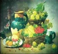 fruchtestilleben mit krug und cognacflasche by le roux