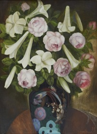 still-life with flowers in a vase by lydia dmitrievsky