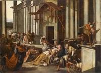große architektur mit der anbetung der heiligen drei könige by aureliano milani