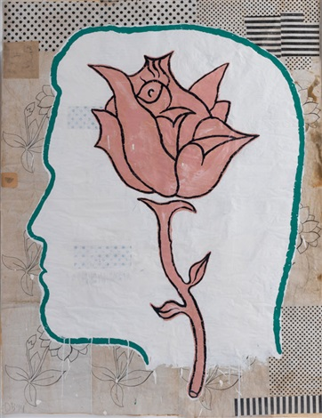 profile with flower by donald baechler